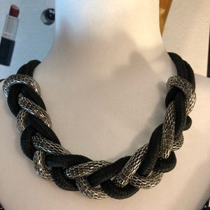 EXPRESS BLACK & SILVER ROPE/METAL BRAIDED NECKLACE
